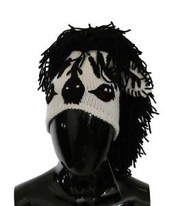 DOLCE & GABBANA Hat Black White Knitted Cashmere Animal Design One Size