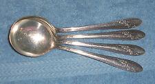 """Set of 4 Vintage """" Queen Bess """" Round Cream Soup Gumbo Spoons"""