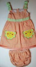 VINTAGE Baby Togs Orange Seersucker Dress w Bloomers Sunshine Pockets 12M