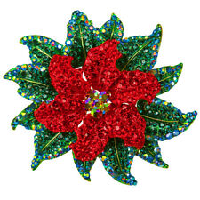 RUCINNI Christmas Flower Brooch, 20K Gold Plated & Swarovski Crystals