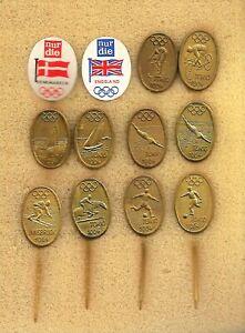 10 fullmetal badges of Olympics Tokyo 1964 + 2x tin flag