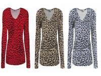 Ladies Long Sleeve Animal Leopard Print Top Women's V Neck T-Shirt UK Size 8-24