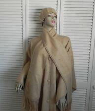 New Womens SZ M Beige Alpaca Wool Cloak Cape Ethnic Poncho Scarf Beret Hat PERU