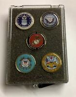 Military Lapel Pin Gift Set, USMC, Coast Guard, Navy, Air Force and Army in Box