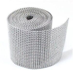 Silver Diamond Diamante Effect Ribbon Trim Cake Bridal Craft Lace Crystal Mesh