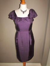 COAST Ladies Purple Pure Silk Dress Ruffle Frilled Sleeves Detail Size 8 VGC