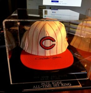 Pete Rose Auto Reds Cooperstown Collection Hat Display Mounted Memories Auth