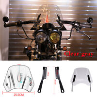 "Universal Retro Motorcycle 5""-7"" Windshield Wind Deflector Windscreen Clear gray"