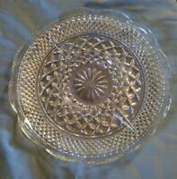 Anchor Hocking Wexford Divided Clear Glass Serving Dish Tray Scalloped Edge EUC
