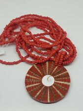 Red Glass Seed Bead Multi Strand Necklace Seashell Resin Pendant
