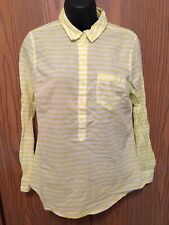 Old Navy Top Womens Size S Long Sleeve Yellow White Striped Shirt Buttons Collar