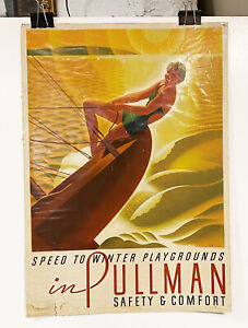 Original 1935 Pullman Train Poster for Winter Playgrounds Welsh, rare, Famous