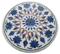 """24"""" White Marble Center Coffee Table Top Lapis Inlay Marquetry Work Decor H927"""