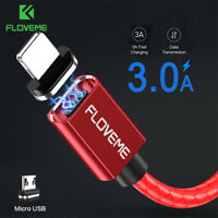 3A LED Magnetic Micro USB Fast Charging Sync Data Charger Cable Phone Lead Cord