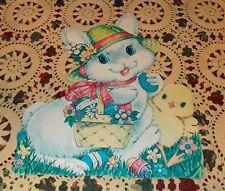 "Vtg Easter Bunny Diecut Cardboard Decoration Large 15"" Egg Hat Chick One Sided"
