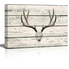 Wall26 - Deer Skull with Antlers Western Artwork - Rustic Canvas Wall Art- 12x18