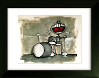 Drums - Limited Edition Drawing with Frame - Moby Dick - Art by SLAZO - 16x20