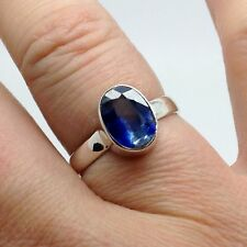 Kyanite Oval Ring, Solid Sterling Silver, Uk Size P Actual One Faceted, Navy Bl