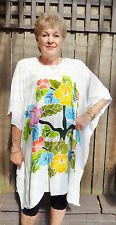 Kaftan Top Short New, Boho,Hand Painted, Casual or dressy plus size 16-26