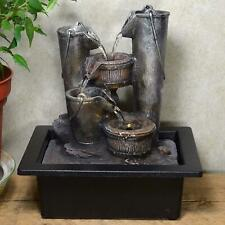 Indoor Buckets Water Fountain Cascade Feature Waterfall Ornament with Light