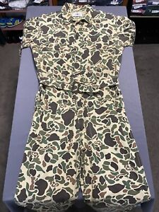 """Vintage Black Sheep Brand Camouflage Hunting Coveralls Jumpsuit Sz XL 28"""" Inseam"""