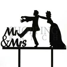 Wedding Cake Bride & Groom Black Topper Women In Charge Acrylic Decoration