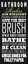 "NEW Bathroom Rules Art Print Poster 8""x18"" Toilet Aim Straight Wash Brush Bath"