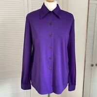 Notations Purple Blouse Size Medium 90s Button Up Collared Long Sleeve Basic