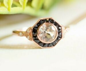 Vintage Round Cut Octagon Shaped Halo Wedding Ring 925 Sterling Silver