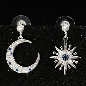 Fashion Six-Pointed Star And Moon Pendant Silver Zircon Tassel Dangle Earrings