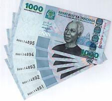Лот 5 шт., Танзания 1000 шиллингов 1,000, 2006, P-36b, не бывшие в обращении