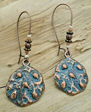 Antique Style Drop Beaded Earrings 6cm Hammered Disc Copper Effect & Turquoise