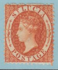 ST LUCIA 10 SG 14 WMK REVERSED 1863  MINT HINGED OG *  NO FAULTS EXTRA  FINE !