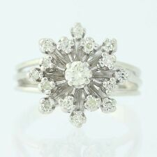 Diamond Cluster Cocktail Ring - 14k White Gold Round Brilliant .47ctw