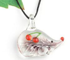 1pc cute hedgehog cherry Lampwork Glass bead pendant Necklace p866_6