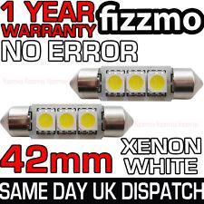 2x 42mm TARGA INTERNI 6000K Luminoso Bianco 3 SMD LED C5W 264 Festoon BULB
