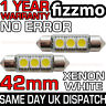 2x 42mm NUMBER PLATE INTERIOR 6000k BRIGHT WHITE 3 SMD LED C5W 264 FESTOON BULB