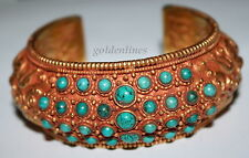 "Tibetan Nepalese Handmade Gold Plated Cuff Bracelet 3"" Tibetan Bracelet Nepal"