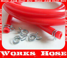 HONDA CRF 250, 5MM ID FUEL CARB PIPE VENT HOSE OVERFLOW TUBE  RED & CLIPS 3m
