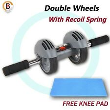 Exercise Wheel Double AB Roller Abs Abdominal Workout Fitness Gym with Knee Pad