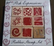 Posh Impressions - Expressions Rubber Stamp Set Freehand Wood Rubber NIP New