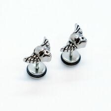 2PCs Stainless Steel Hip-hop Punk Rock Gothic Eagle Wings Ear Earrings Stud