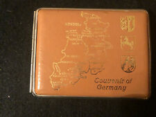 New listing Cigarette Case–Leather Covered–Gold Imprint Map Of Northwestern Germany – 1950'S