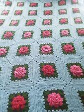Handmade 3D RED & Pink Roses Flower Quilt AFGHAN CROCHET Granny Squares Vintage