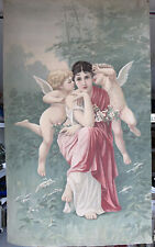 Lg Antique Art Nouveau Theater Old Lady Goddess & Cherubs Wall Tapestry Painting