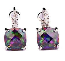 SWAROVSKI Rainbow Topaz/ Sapphire Crystal 18K White Gold P Dangle Hook Earrings