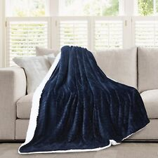 Hiyoko 3D Micromink Flannel Sherpa Super Soft Throw Blanket 60 X 80 Navy