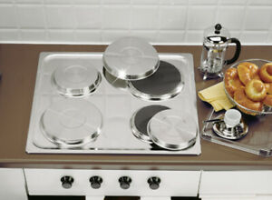 Set of 4 Hob Covers,Stainless Steel Coloured Rings, Metal cooker Protectors,