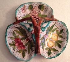 3 Section Serving Dish w/ Fruit Pattern With Handle Hand painted Made in Italy