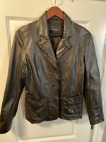 Bernardo Leather Dark Brown Moto Style Vtg Coat Jacket Size Large